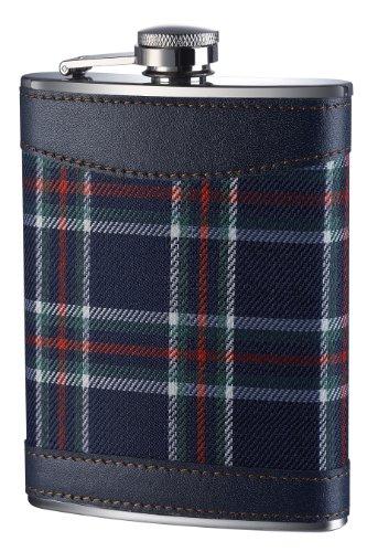 Premier Housewares Tartan Hip Flask, 8 oz, Blue