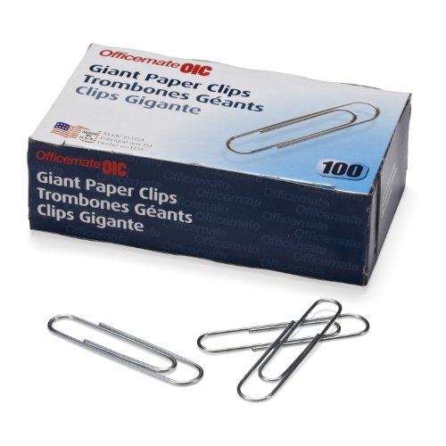 Officemate Giant Paper Clips, Pack of 10 Boxes of 100 Clips Each (1,000 Clips Total) (99914) (Jumbo Paper Clips 1000 compare prices)