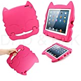 DELED Light Weight Shock Proof Super Protezione Bambini Sicurezza Cabrio Freestanding Maneggiare Regali Custodia Cover Tablet Buon Natale Custodie Kiddie divertenti per Apple iPad Air / iPad 5 - Rose