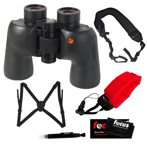 Swift 8.5X44 Bwcf Audubon Waterproof Ed Binoculars With Optic Guard Binocular Harness, Floating Foam Strap Red, Micro Fiber Cleaning Cloth, Lens Cleaning Pen And Wide Strap