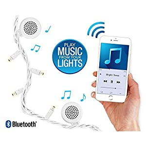 Innovative Technology Bright Tunes Decorative String Lights with Bluetooth Speakers, Warm White LED Lights, White Cord, 26-Feet