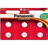 Panasonic CR2032 Lithium 3 Volt Battery card of 6