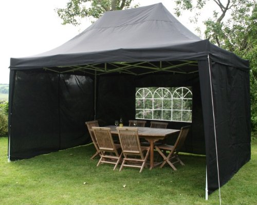 4.5mtr x 3mtr Black Pop Up Gazebo, FULLY WATERPROOF, with Four Side Panels, Integral Windbar and Carry Bag