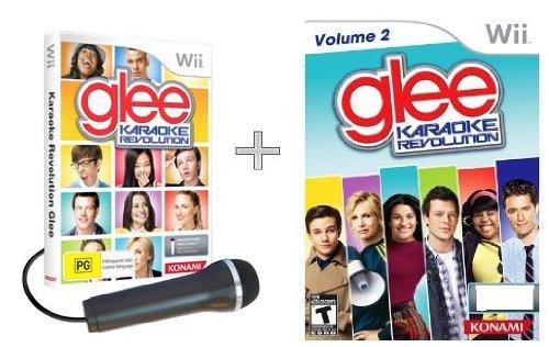 Karaoke Revolution Glee Game + Karaoke Revolution Glee Volume 2 Game + Microphone [Wii]