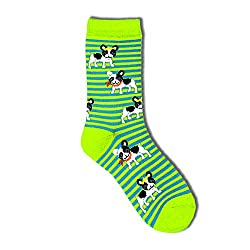 Davco Ladies Quarter-French Bull Dog Stripe Socks - set of 3