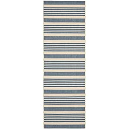 Safavieh Courtyard Collection CY6062-233 Beige and Blue Indoor/ Outdoor Runner, 2 feet 3 inches by 6 feet 7 inches (2\'3\