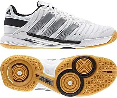 Adidas Adipower Stabil 10.1 Women's Indoor Court Shoe (7.5, White/Metallic Silver/Black)