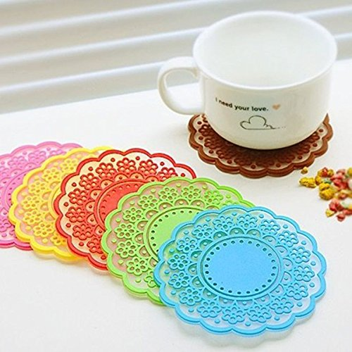 Colorful Lace Silicone Coffee Cup Mat Coaster Drink Placemat