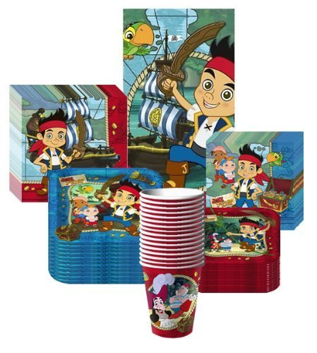 Deluxe Jake & the Neverland Pirates Party Supplies Pack Including Plates, Cups, Tablecover, and Napkins- 16 Guest by Hallmark TOY (English Manual)