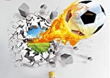 ORDERIN Cute 3d Mural Fire Football Removable Wall Stickers for Kids Children Room Home Wall Decor