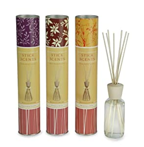 Stick Scents Set of 3 Lavender/Vanilla Bean/Morning Dew Diffusers, 4-Ounce Bottle