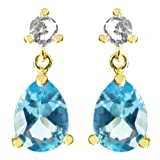 10K Yellow Gold Pear Blue Topaz Created White Sapphire Dangle Earrings