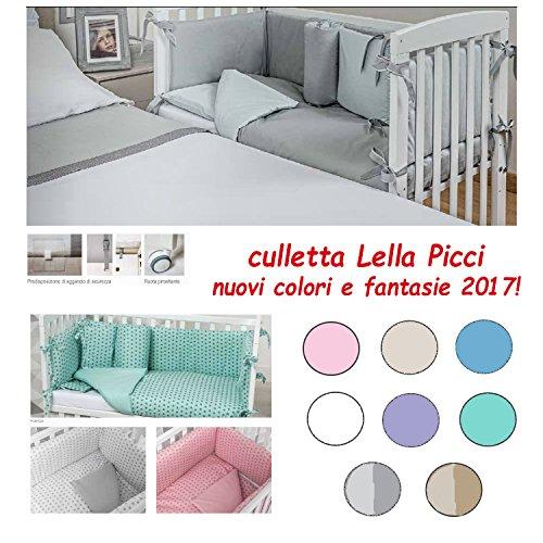 CULLETTA CO-SLEEPING IN LEGNO LELLA PICCI COMPLETA con cuscino omaggio (GRIGIO BICOLORE)