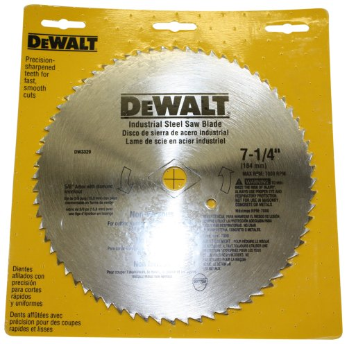 DEWALT DW3329 7-1/4-Inch 68 Tooth Steel Non-Ferrous Metal Cutting Saw Blade with 5/8-Inch and Diamond Knockout Arbor