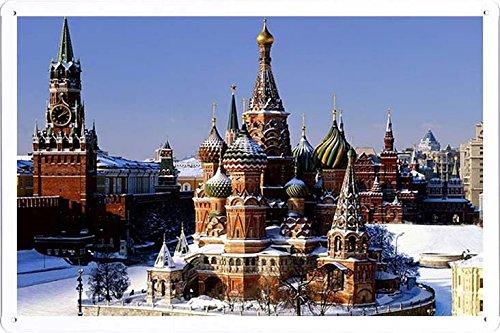 ARMVAS DÉCOR Metall plakat poster Blechschild Wandschild 20x30cm - Moskauer Kreml Roter Platz Russland Kapital 59.491