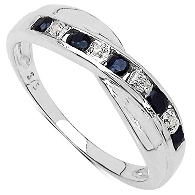 The Sapphire Ring Collection: 9ct White Gold Sapphire & Diamond Channel Set Crossover Eternity Ring