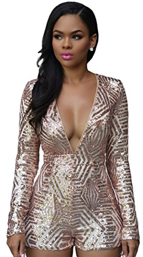 PEGGYNCO Womens Sexy Fashion Rose Gold Sequin Playsuit