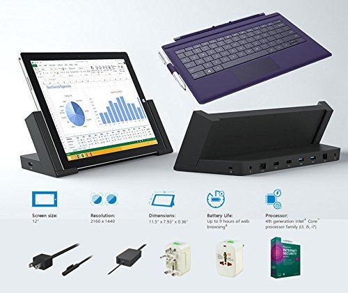 """2014 Newest Microsoft Surface Pro 3 Core I3-4020Y 4G 64Gb 12"""" Touch Screen With 2160X1440 Half 4K (2K) Qhd Windows 8.1 Pro Multi-Position Kickstand (Without Dock, Dark Purple Cover)"""