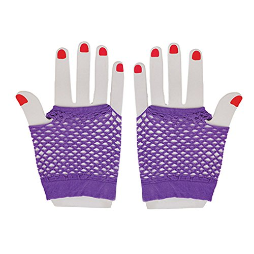 Neon Fishnet Fingerless Wrist Gloves Party Accessory - Purple