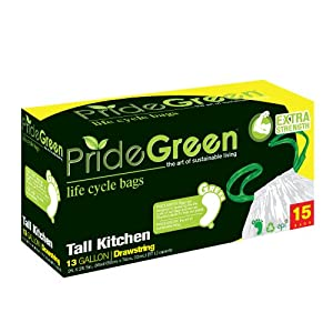 Pridegreen Biodegradable 13 Gallon White Draw String Trash Bags, 15-Count