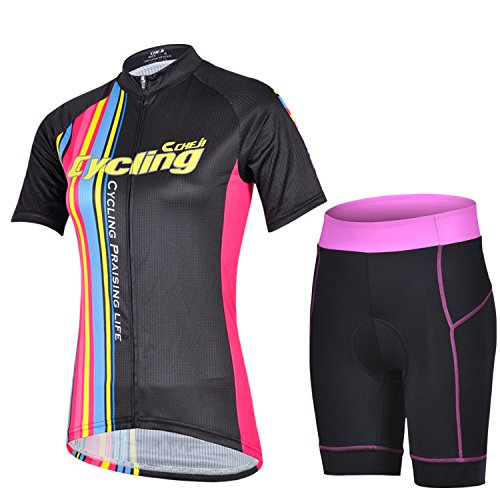 Women's Quick-Dry Cool Short Sleeve Cycling Jersey 3D Padded Short Set Devil Style