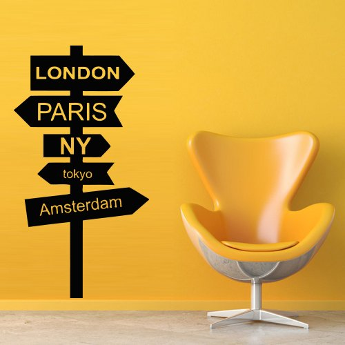 Wall Decal Decor Decals Art London Paris Ny Tokyo Amsterdam Pointer Post Index Road Sign Direction Custom Word Quote Bedroom Dorm (M472) front-326900