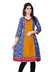 Aria Party Wear 3/4 Sleeve Printed Multicolor Cotton Women's Kurti - B00XW1NE2A