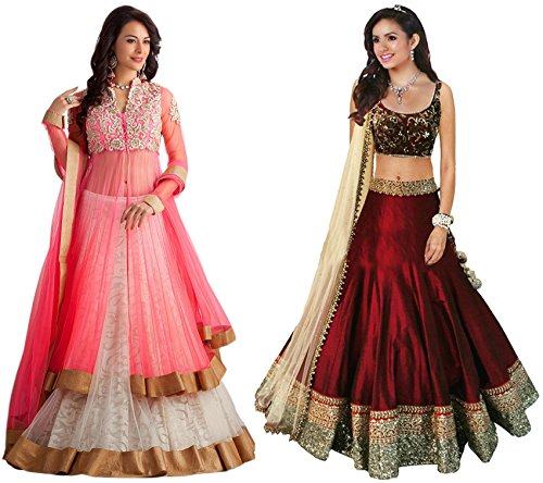 Clickedia-Womens-Net-Bhagalpuri-Silk-Combo-Set-of-2-Embroidered-Lehenga-With-Blouse-Pc