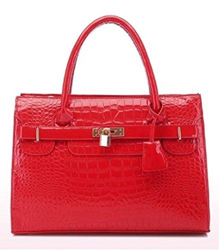 Maison De Decoration©Sac en cuir de Hobo de corps de croix d'épaule de sac à main de serrure de modèle de crocodile de la mode des femmes 2015 (rouge).