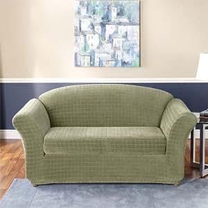 Sure Fit Stretch Squares 2 Piece Sofa Slipcover Fern