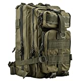 HUKOER 17.7''x 9.9''x 9'' Tactical Rucksack - Fashionable 30L Multiple Colors Outdoor Tactical Shoulder Hiking Daypack Military Backpack Perfect for Young Camping Trekking Hunting (Army green)