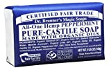 Dr. Bronner's Magic Soaps Pure-Castile Soap, All-One Hemp Peppermint, 5-Ounce Bars (Pack of 6) by Dr. Bronner's BEAUTY