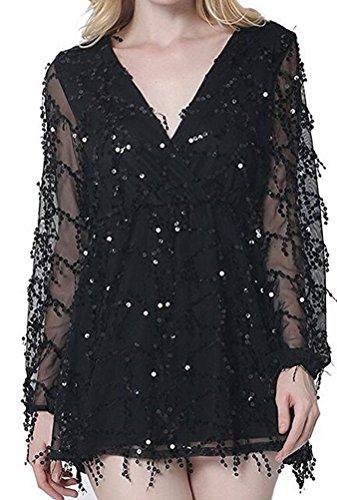 sunifsnow-robe-special-grossesse-tunique-uni-manches-longues-femme-noir-s