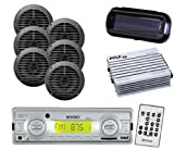 Enrock Marine MP3 USB SD Boat Radio Receiver 6 Black 6.5″ Speakers + Amp + Cover