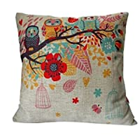 "HOSL Cotton Linen Square Decorative Throw Pillow Case Cushion Cover Owls with Birdcage 18 ""X18 """