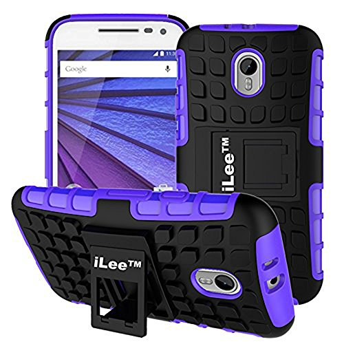 iLee Premium Kickstand Hybrid Back Cover for MOTO G 3rd Generation (G3) / Moto G Turbo - Color: Purple (12 Months Warranty)