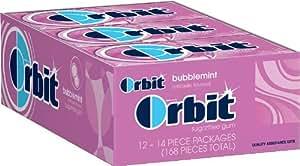 Orbit Bubblemint Sugarfree Gum, 14-Piece, 12 Count , Pack of 2