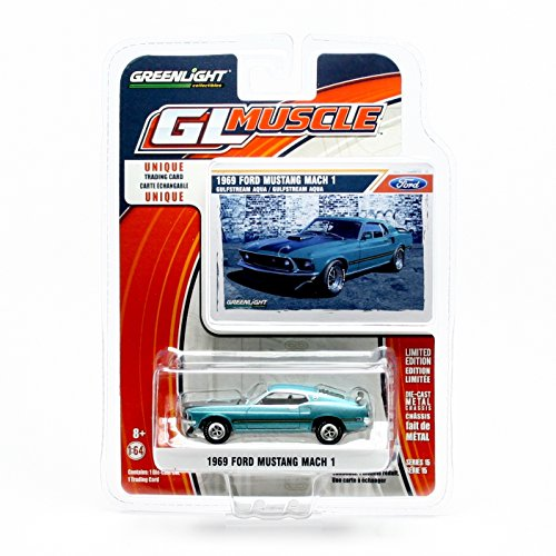 1969 FORD MUSTANG MACH 1 (Gulfstream Aqua) * GL Muscle Series 15 * Greenlight Collectibles 2016 Limited Edition 1:64 Scale Die-Cast Vehicle & Collector Trading Card