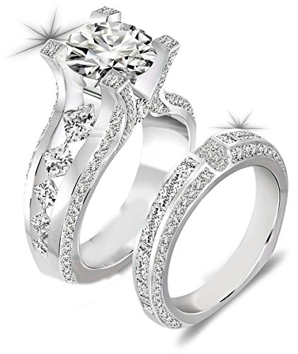 Newshe Jewellery 3ct Round Cz 925 Sterling Silver Wedding Band Engagement Ring Sets Size 9