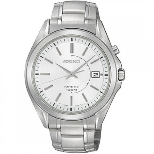Seiko Men'S Ska519P1 Kinetic Silver Dial Stainless Steel Watch