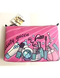 """Stella & Max Cosmetic Beauty Queen Bag Pink With Zipper Top Small 9 X 7"""""""