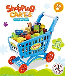 Childrens Shopping Trolley Basket for Toy Shop Kitchen Over 80pcs Play Food Set (Blue)