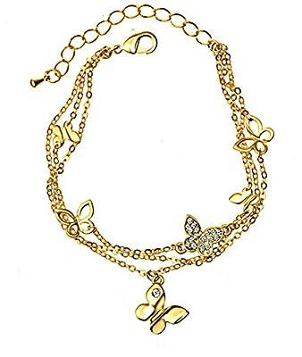 Pretty Butterfly Bracelet with Swarovski Diamond Crystals in Gold Finish