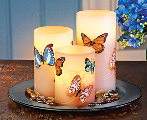 3 Pc Butterfly Flameless Led Pillar Candle Set With Tray