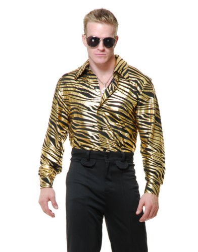 Mens Adults 70s Metallic Gold Zebra Print Disco Shirt