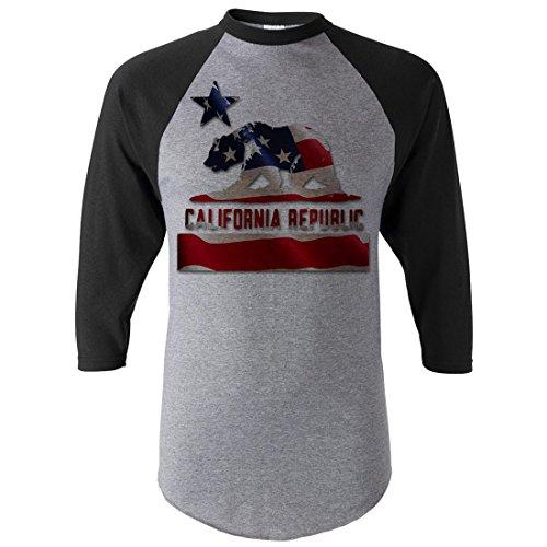 California Republic American Flag Half-Sleeve Baseball Shirt - Black/Grey - Large front-236565