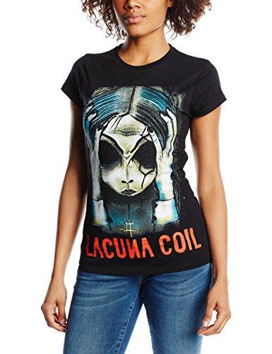 Playlogic International(World) - Lacuna Coil Head  Gts, T-shirt da donna,  manica corta, collo mao, nero(schwarz - schwarz), taglia produttore: 36