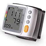 Digital Wrist Blood Pressure Monitor with Heart Rate Detection, Two User Modes, Memory Recall and Large Backlit LCD Display-JUNING