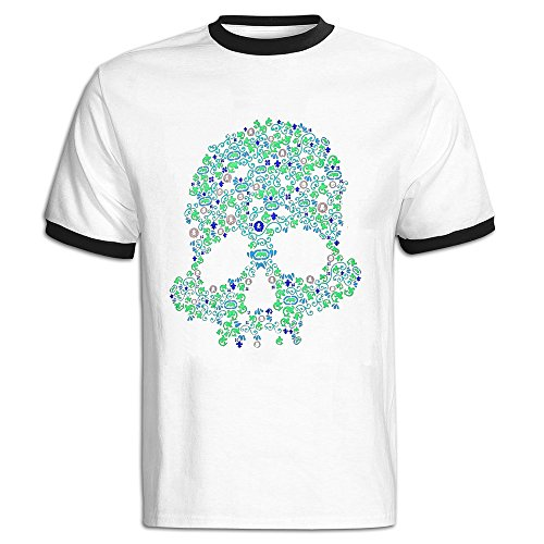 SHOWQEE Gentleman Halloween Skeleton Glow In The Dark Contrast Color Short Sleeve Contrast Color Shirts Men
