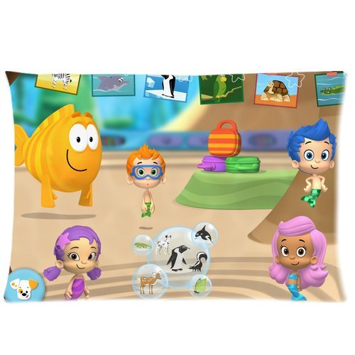 Soft Cotton Home Bedding Pillowcase Cushion Covers 1 Side 20X30-Print Hot Cartoon Bubble Guppies Cute Molly Gil Bubble Puppy Photos-4 front-769524